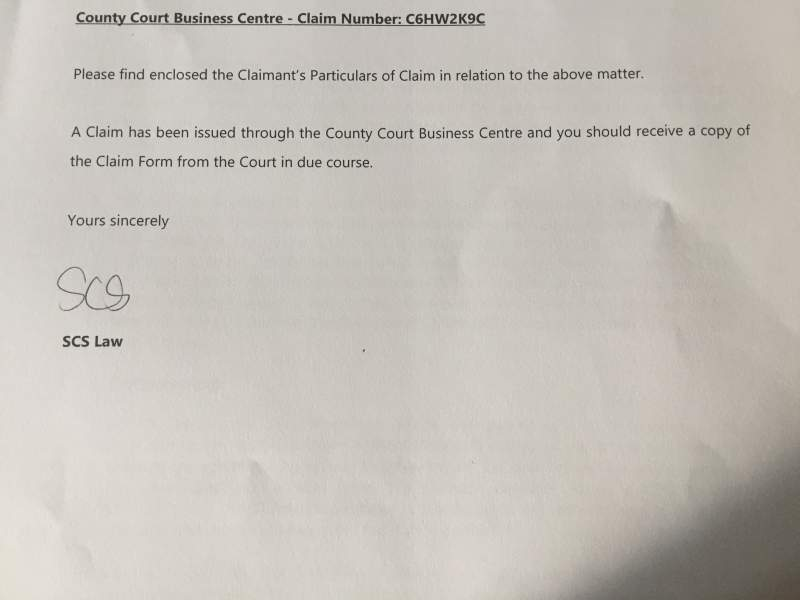 Won County Court Claim Letter Over Parking Fines