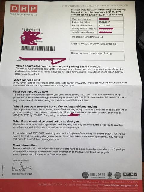 Parking Charge Notice Debt Recovery Plus Ltd Smart Parking Ltd