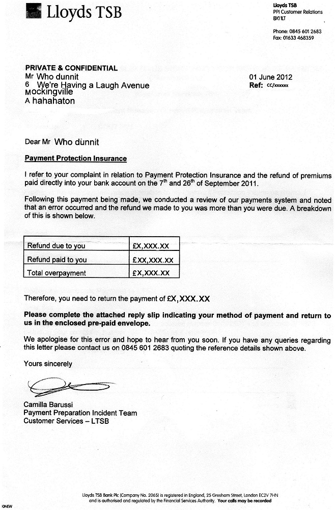 Lloyds tsb ppi claim letter template can you download on for Ppi claim template letter to bank