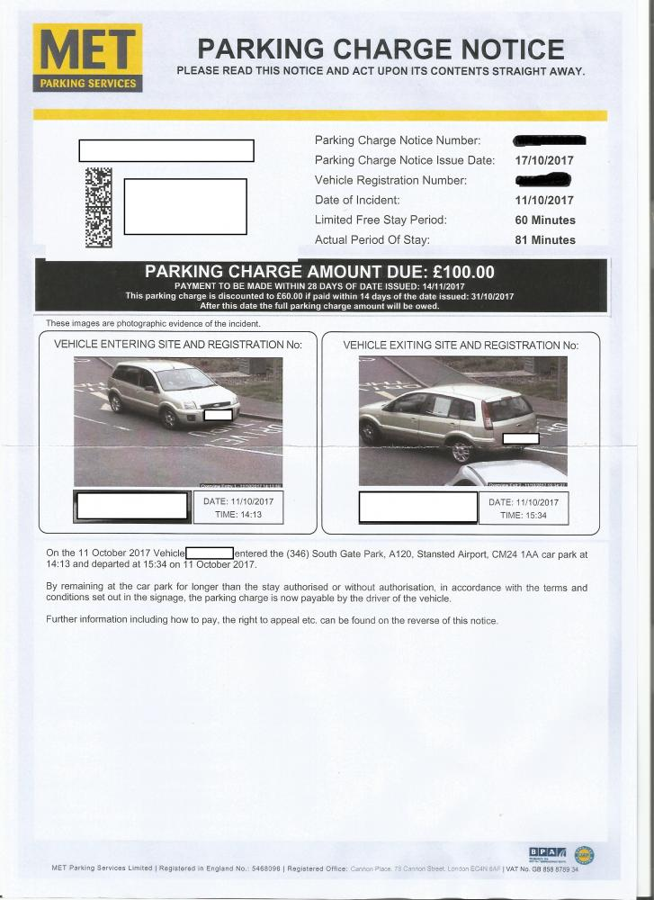Met Parking Services >> Met Parking Charge Notice Starbucks In Stansted Please Help