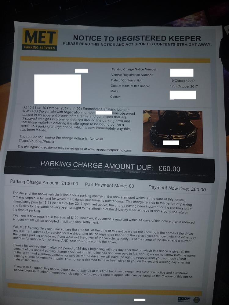 Met Parking Services >> Won Met Parking Ticket On Windscreen Appeal Popla Code